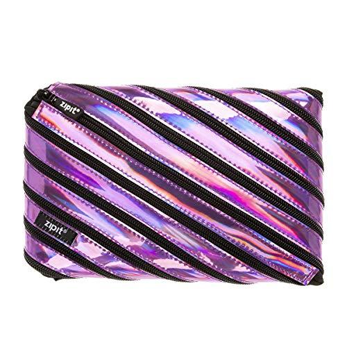 ZIPIT Metallic Big Pencil Case, Purple, Large Pouch