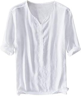 LEORTKS Camiseta de Manga Corta Casual Hombres Moda de la Personalidad El bot/ón La Solapa Camisas Deportiva Delgado Hombre Blusa