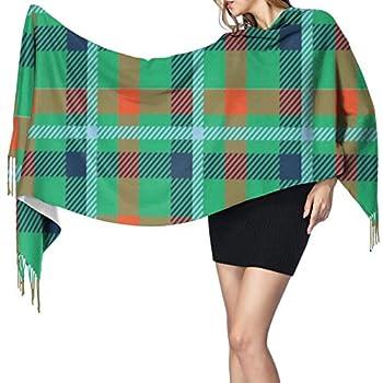 Women Scarves Winter Long Soft Warm Saint Patricks Day Plaid Carolina Blue Light Blue Navy Green Orange Cashmere-like Pashmina Shawls Wraps Tassel Shawl Stole Scarf