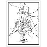 Impresión De Lienzo,Argelia Saida Mapa De La Ciudad Simple Negro Blanco Minimalista Arte Moderno Cartel De Pared Mural Pintura Oficina De Estar Hogar Dormitorio Espacio Decoración Estilo Nórdico,4