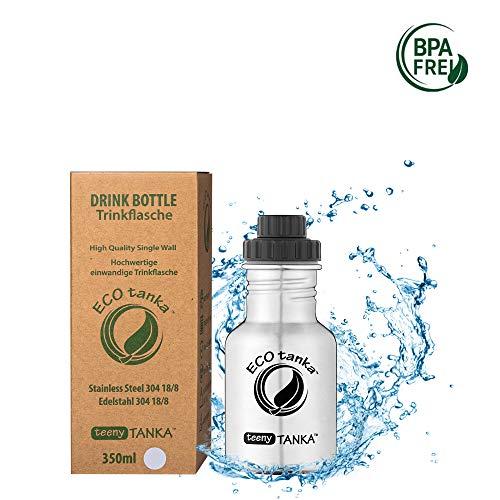 ECOtanka teenyTANKA Trinkflasche aus Edelsthal 0,35 Liter auslaufsicher - Wasserflasche BPA frei mit Reduzier-Verschluss