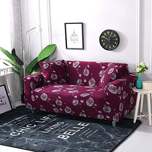 Funda Elástica para Sofá Cubierta del sofá Funda de sofá Funda elástica Protectora para sofá Material de poliéster de Flor de Margarita roja Viene con 3 Fundas de Almohada