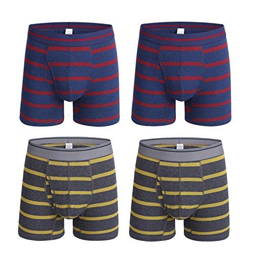 KEFITEVD Men's 4-Pack Underwear Stripe Cotton Boxer Briefs