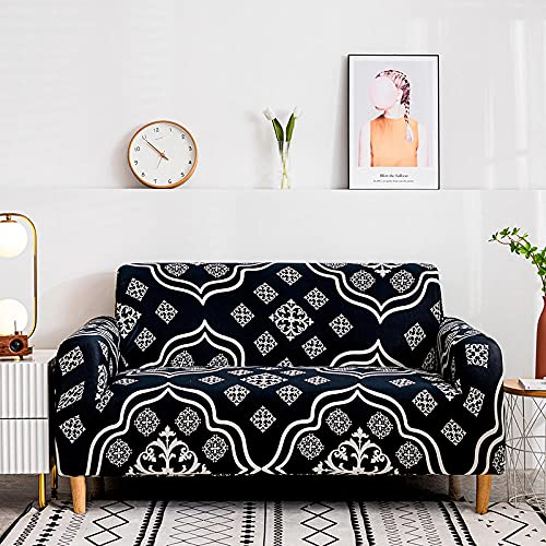 Fundas de sofá Estampadas Elástica,Clásico Europeo 2 Plazas Antideslizante Ajustables Funda de Sofá,Universal Poliéster Protector Cubierta de Muebles,+2 Funda de Cojín