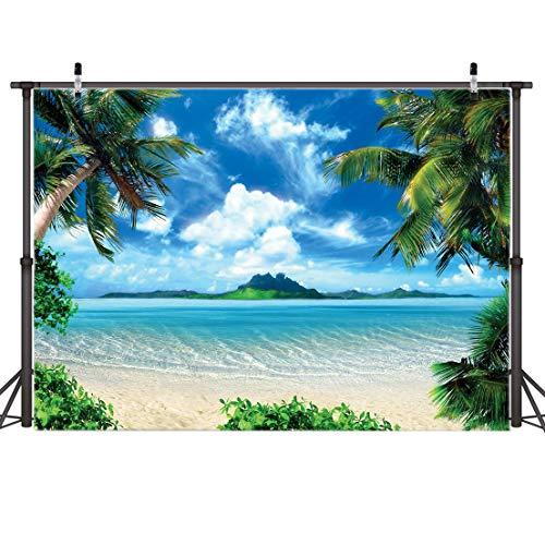 AIIKES 2.1Mx1.5M/7x5FT Verano Playa Fotografía Fondo Vinilo Azul Mar Cielo Palmeras Fondo...