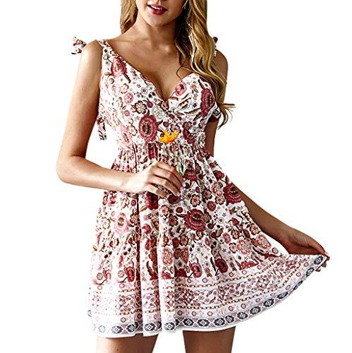 Momoxi Abito Donna Eleganti da Cerimonia, Donne Senza Maniche Backless Boho Floral Mini Dress Ladies Summer Sundress Holiday 20