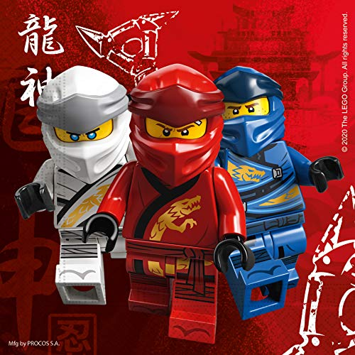 Procos 92241 - Servietten Lego Ninjago, 20 Stück, Größe 33 x 33cm, Papierservietten mit Motiv, Tischdekoration, Mundtuch, Geburtstag, Party