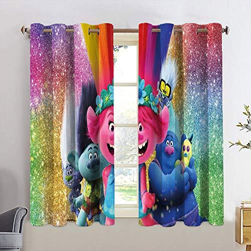Cortinas decorativas Trolls con aislamiento térmico para dormitorio, habitación de los niños, 55 x 63 cm
