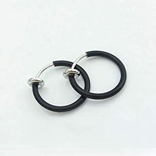Cool Jewelry Ear Clip Ear Cartilage Nose Septum Fake Spring Non Piercing Ring   color - Black