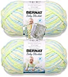 Bernat Baby Blanket Yarn - Big Ball (10.5 oz) - 2 Pack with Pattern Cards in Color (Baby Dinosaur)