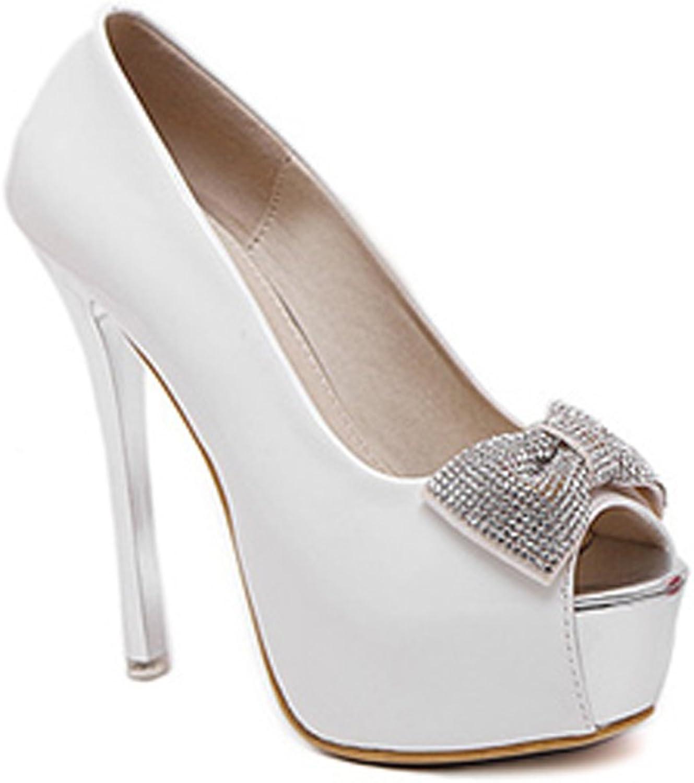 Ladola Womens Peep-Toe Spikes Stilettos Bows Platform Urethane Pumps shoes