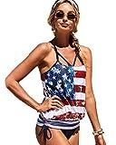 QJBMEI Women's Two Piece Tankini Swimsuit Tank Top Bikinis Padded Swimwear American Flag Bathing Suit Swimsuits,L
