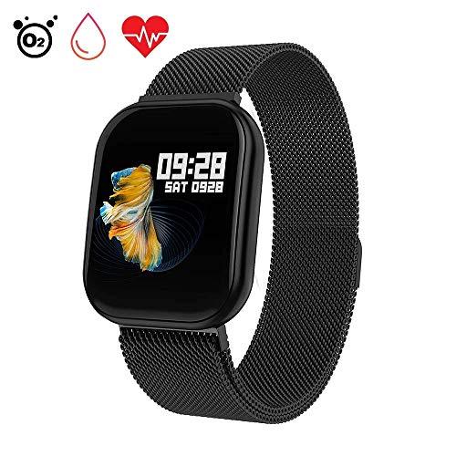 Letopro Smartwatch mit Herzfrequenz, Bluetooth Smart Watch Wasserdicht IP68 Fitness Tracker Uhr mit Blutdruck Pedometer Schlaf Monitor Schrittzähler SMS Call Notification für iOS Android (Schwarz)