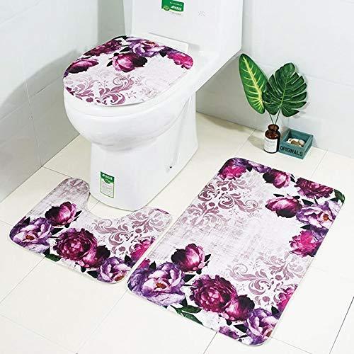 ETH Badmat Kamer Toilet Stoel Driedelig Tapijt Absorberen Water Niet-vervagen Wild Set Van Comfortabele Badkamer Bloem Patroon Mat Kan Machine Was duurzaam