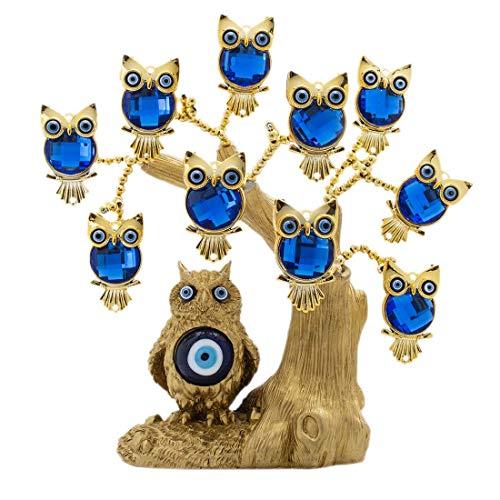 Kücheks Gran Estatua de árbol de Lucky Money y Evil Eye con Grandes Ojos malvados de Color Azul Turco y Figuras de búho para decoración del hogar y Hellip;