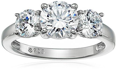 Ring Sterling-Silber 925 platiniert oder vergoldet 3 Steine Swarovski Zirkonia,Platiniertes Silber,Size 5
