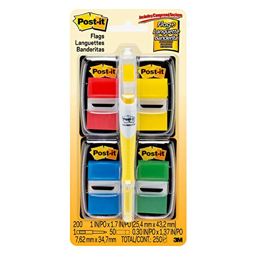 Post-it Flags Value Pack, 50/Dispenser, 4 Dispensers/Pack, 1 in Wide, Assorted Colors, Includes FREE Flags + Highlighter (680-RYBGVA)