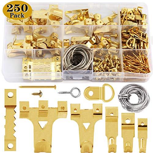 250 PCS Bilderhaken set zum nageln,Wukong Bildaufhänger für Holzrahmen Kunstwerk Bilder Uhren Haken mit Nägeln an Wand und Holz Haltkraft 10-75lbs