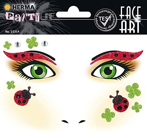HERMA 15314 Face Art Marienkäfer Gesicht Aufkleber Glitzer Sticker für Fasching, Karneval, Halloween, dermatologisch getestet
