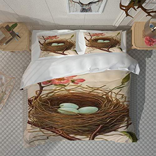 HKDGHTHJ fundas nordicas cama Patrón de huevo de pájaro nido de pájaro 135 x 200 CM Juego de funda nórdica Juego de cama doble tamaño Queen King Size 4 piezas Funda de edredón Juego de funda de almoh