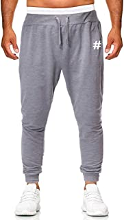 ITISME Pantaloni Uomo Tuta Stampa Fitness Slim Fit Puro Colore Jogging Sportivo Lunghi Coulisse Casual Pants