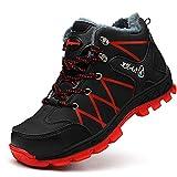 SROTER Mujer Hombre Invierno Botas de Seguridad Trabajo Zapatillas con Puntera de Acero Impermeables Botas de Nieve Zapatos de Trabajo Entrenador Unisex Zapatillas de Senderismo Rojo 39 EU