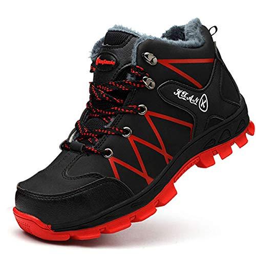 SROTER Mujer Hombre Invierno Botas de Seguridad Trabajo Zapatillas con Puntera de Acero Impermeables Botas de Nieve Zapatos de Trabajo Entrenador Unisex Zapatillas de Senderismo Rojo 42 EU