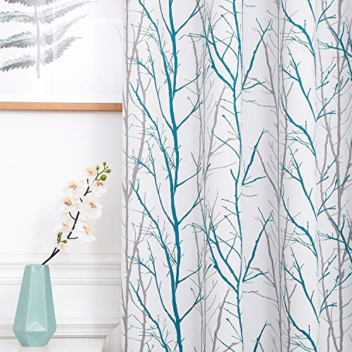 """Reepow Teal Blackout Curtains 84"""" Length for Bedroom Set of 2, Tree Print Fashion Grommet Light Blocking Window Panels for Living Room - 52""""x84"""""""