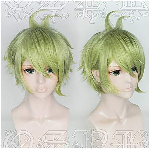 LJYNB Japn Juego Nueva Dangan RonPa V3 peluca Rantaro Amami verde estilo peluca de pelo V3 cosplaypeluca