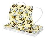 RUITOTP 10 Stück Unisex Erwachsene-Mundschutz mit Biene Drucken,Mode Einweg_3-lagig_Staubdicht,Atmungsaktiv Mundbedeckung Bandana Halstuch-303-5