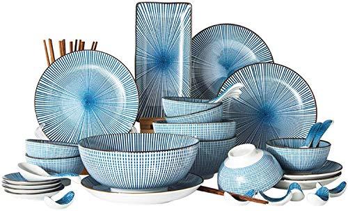 Cucina 42 pezzi di set di posate in porcellana blu, set da pranzo in ceramica verniciata a mano, cucchiaio da zuppa di ciotola, servizio for 6 persone Set di posate per cucina