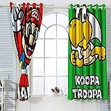 Super Mario Koopa Troopa Super Mario Bros Cortina de ventana personalizada para dormitorio de niños 72 x 63