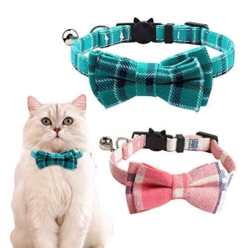 Eastlion Collar de Gato con Campana y Pajarita,Ajustable Hebilla Seguridad Liberacion Rapida,Collar Collares Gato Gatito Perrito,Rosa+Turquesa,18-25CM(2 Piezas)