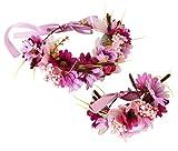Flower Wreath Crown Boho Flower Headband Hair Garland Floral Headpiece Halo with Wrist Wedding Party Festival Photos Rosy by Vivivalue