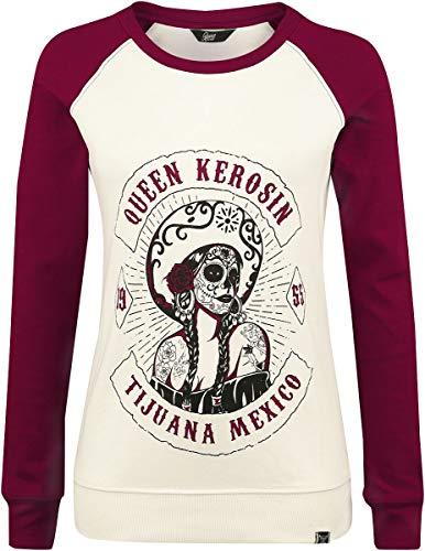 Queen Kerosin Damen Sweater In Two Tone Optik Tijuana Mexico Rundhals Langarm Sweater Regular Fit Bedruckt Bündchen Tijuana Mexico
