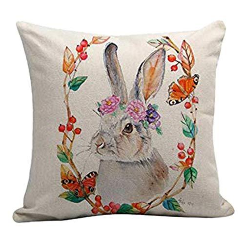 Moent Funda de almohada para el día de Pascua, diseño de conejo, 45,7 x 45,7 cm, algodón y lino, cuadrada, decoración para el hogar, funda de cojín para sofá, decoración de festivales (C)