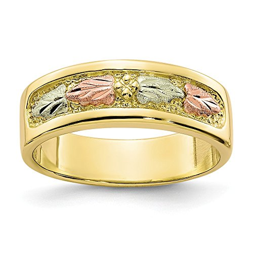 10k Tri Color Black Hills Gold Band Ring Size 7.00 Flowers/leaf Fine Jewelry For Women Gifts For Her