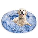 JOEJOY Calming Dog Bed Donut Cuddler, 16/20/23/30inch Round Pet Cat Bed Faux Fur Anti-Anxiety Machine Washable Warming Fluffy Orthopedic Puppy Beds Muti-Color for Large Medium Dogs and Cats