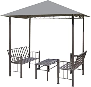 vidaXL Garden Pavilion with Table and Benches Anti-UV Outdoor Shelter Lounge Sunshade Canopy for Backyard Patio Lawn 2Anth...