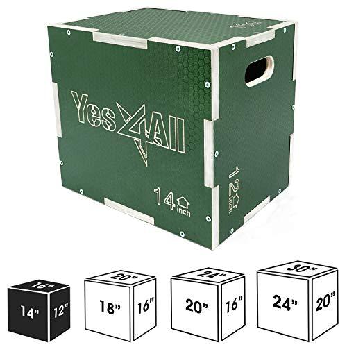 "Yes4All Non-Slip Wooden Plyo Box 16"" 14"" 12"" - Green"