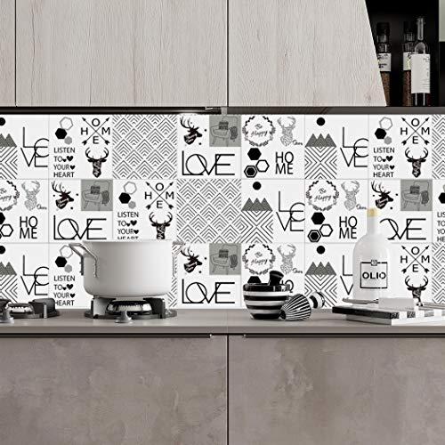 ZYT 20 PCS Adhesif Mural Traditionnel Tuile des Autocollants pour Salle de Bains Et Cuisine Dosseret Décoration (20x20cm) Imperméable Amovible Stickers muraux Cerf Décalcomanies,20 * 20CM