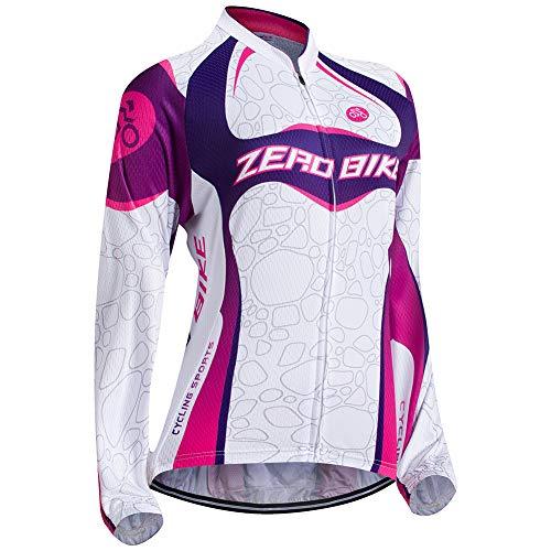 Damen Atmungsaktiv Schnelltrocknend Fahrradtrikot, Outdoor Lange Ärmel Radsport-Shirt, M, 004