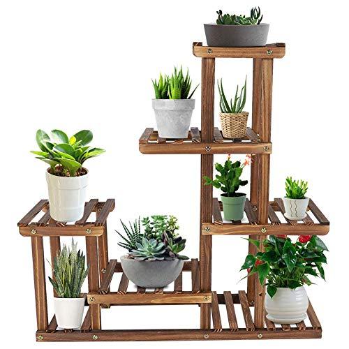 6 Ebenen Pflanzenständer aus Holz, 73 x 71.5 x 20 cm Blumenständer mit Balkongarten, Blumenregal Pflanzentreppe,großes Holzregal, Blumentreppe Outdoor Garten Balkon, Blumentreppe Holz