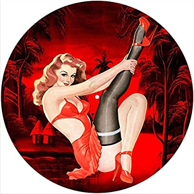 """Slipmat Slip Mat Scratch Pad Felt for any 12"""" LP DJ Vinyl Turntable Record Player Custom Graphical - Pin Up Girl All Red"""