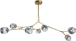 7-Light Adjustable Chandelier Pendant Light Gradient Blue Color Glass Bubble Ball Lampshade Rotating Ceiling Light, Modern Chandelier Lighting Matte Gold Fixture (Blue)