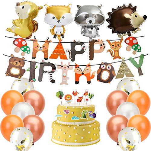 KATELUO Waldtiere Geburtstag Deko,Waldtiere Partydekoration Set,Happy Birthday Banner,Folienballon,Latexballons,Tier Kuchendeckel,Tiere Aufkleber,Party Geburtstag Deko für Mädchen & Junge