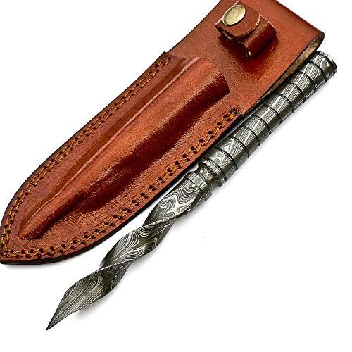 Handmade Damascus Steel Tri Edge Dagger Knife Twisted Pattern 09 Inches VK2435