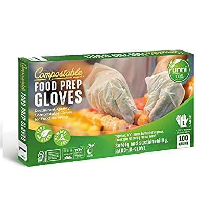 UNNI 100% Compostable Food Prep Gloves, Restaurant-Quality, For Food Handling, Powder-Free, 100 Count, Large, Earth Friendly Highest ASTM D6400, US BPI and Europe OK Compost Certified, San Francisco