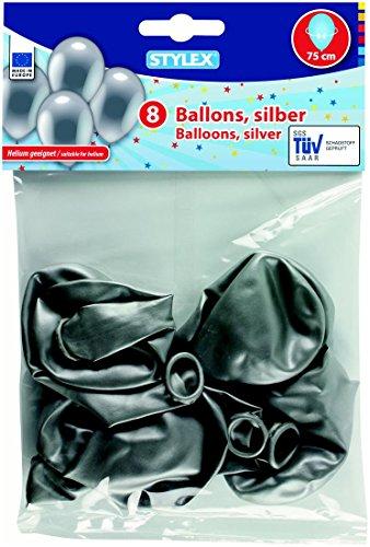 8 Ballons/la livraison : 75 cm/Couleur : Argent