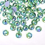 QQINGHAN Mejor Cristal Rhinestones Green AB Hierro en fijación Caliente Rhinestones Motif Strass para (Size : SS16 1440pcs)